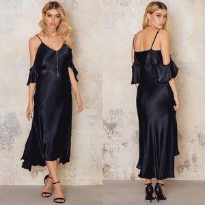 NWT Bardot Leandra Black Silky Slip Dress